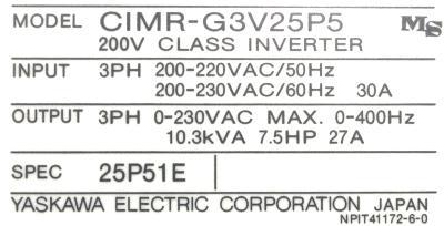 Yaskawa CIMR-G3V25P5 label image