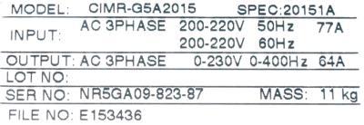 Yaskawa CIMR-G5A2015 label image