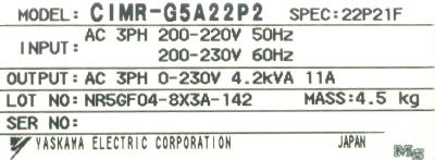 Yaskawa CIMR-G5A22P2 label image