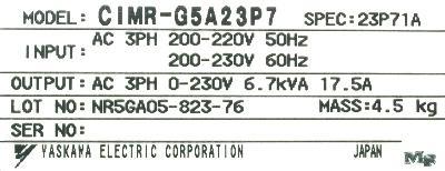 Yaskawa CIMR-G5A23P7 label image