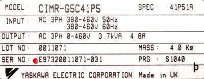 Yaskawa CIMR-G5C41P5 label image