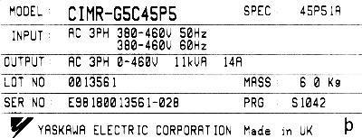 Yaskawa CIMR-G5C45P5 label image