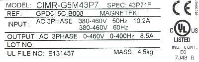 Yaskawa CIMR-G5M43P7 label image