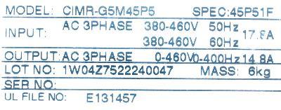 Yaskawa CIMR-G5M45P5 label image