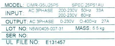 Yaskawa CIMR-G5U25P5 label image