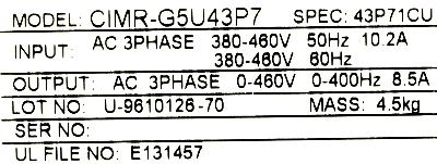 Yaskawa CIMR-G5U43P7 label image