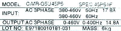 Yaskawa CIMR-G5U45P5 label image
