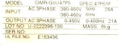 Yaskawa CIMR-G5U47P5 label image