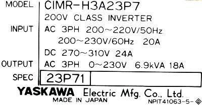 Yaskawa CIMR-H3A23P7 label image