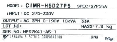 New Refurbished Exchange Repair  Yaskawa Inverter-General Purpose CIMR-H5D27P5 Precision Zone