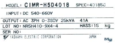 Yaskawa CIMR-H5D4018 label image