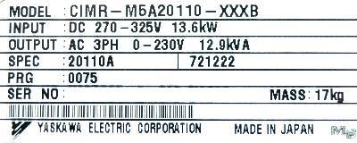 Yaskawa CIMR-M5A20110 label image