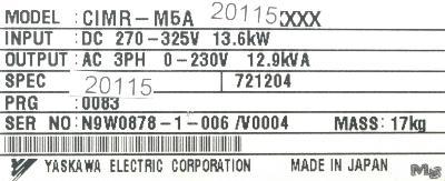Yaskawa CIMR-M5A20115 label image
