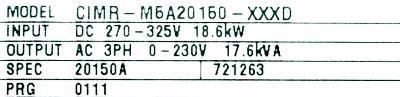 Yaskawa CIMR-M5A20150 label image