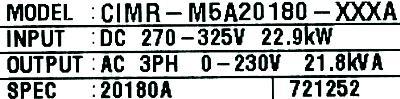 Yaskawa CIMR-M5A20180 label image