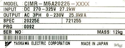 Yaskawa CIMR-M5A20225 label image