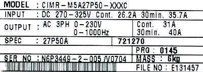 Yaskawa CIMR-M5A27P50 label image