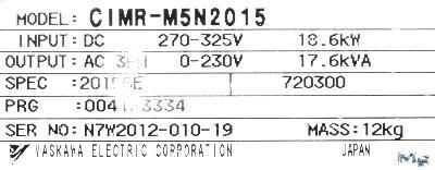 Yaskawa CIMR-M5N20155 label image