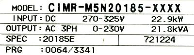 Yaskawa CIMR-M5N20185 label image