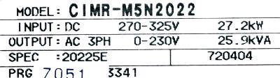 Yaskawa CIMR-M5N20225 label image