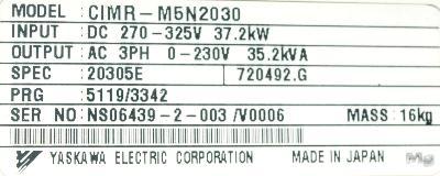Yaskawa CIMR-M5N20305 label image