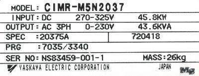 Yaskawa CIMR-M5N20375 label image