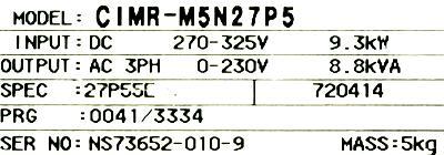 New Refurbished Exchange Repair  Yaskawa Drives-AC Spindle CIMR-M5N27P55 Precision Zone
