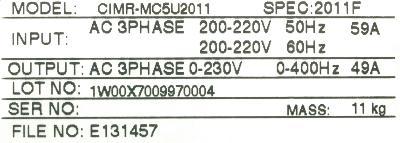Yaskawa CIMR-MC5U2011 label image