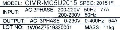 Yaskawa CIMR-MC5U2015 label image