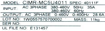 Yaskawa CIMR-MC5U4011 label image