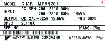 Yaskawa CIMR-MR5N20110 label image