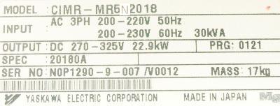 Yaskawa CIMR-MR5N20180 label image