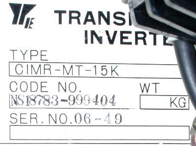 Yaskawa CIMR-MT-15K label image