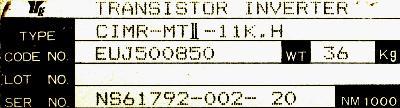 Yaskawa CIMR-MTII-11K.H label image