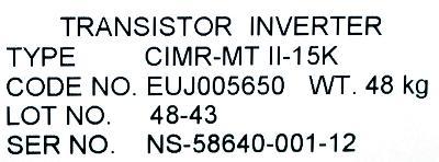 Yaskawa CIMR-MTII-15K label image