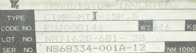 Yaskawa CIMR-MTII-15K.B label image