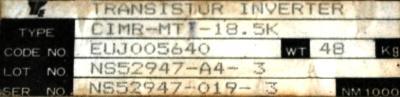 Yaskawa CIMR-MTII-18.5K label image