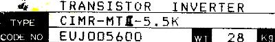 Yaskawa CIMR-MTII-5.5K label image