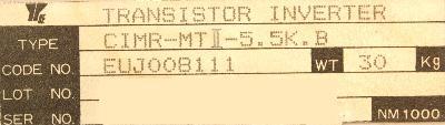 Yaskawa CIMR-MTII-5.5K.B label image