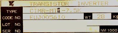 Yaskawa CIMR-MTII-7.5K label image