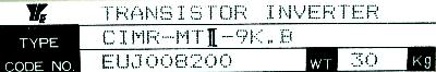 Yaskawa CIMR-MTII-9K.B label image