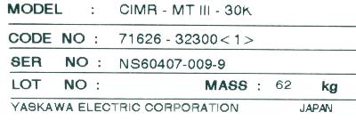 Yaskawa CIMR-MTIII-30K label image