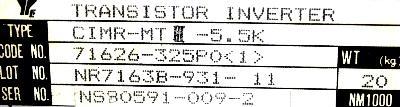 Yaskawa CIMR-MTIII-5.5K label image