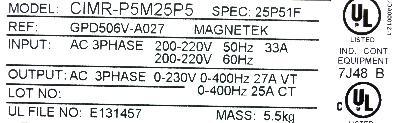 Yaskawa CIMR-P5M25P5 label image