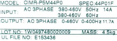 Yaskawa CIMR-P5M44P0 label image
