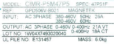 Yaskawa CIMR-P5M47P5 label image