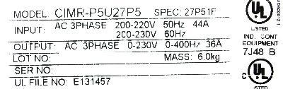Yaskawa CIMR-P5U27P5 label image