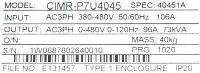 Yaskawa CIMR-P7U4045 label image