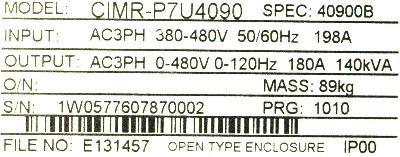 Yaskawa CIMR-P7U4090 label image