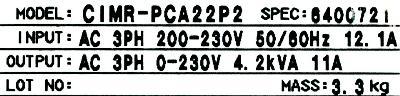 Yaskawa CIMR-PCA22P2 label image